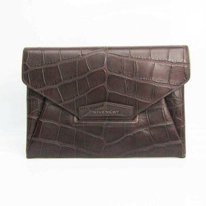 Authentic Givenchy Men's Leather Clutch Bag Dark B